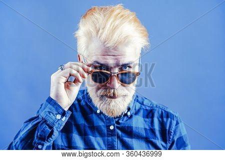 Stylish Bearded Man With Sunglasses. Dark Sunglasses. Portrait Of Men With Sunglasses. Confident Han