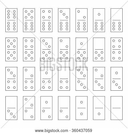 Domino Set Of 28 Tiles. Thin Black Outline Pieces With Dots. Simple Flat Vector Illustration