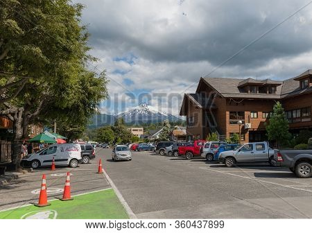 Pucon, Chile-january 31, 2020: Cityscape Of Pucon And Volcan Villarrica, Patagonia, Chile