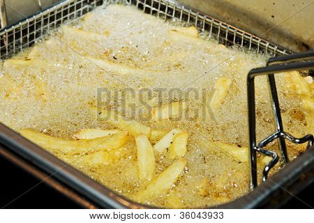 French Fries In Deep Fryer