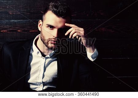 Fashion Suit. Luxury Mens Clothing. Classic Costume And Trend. Rich Man In Classic Suits. Man In Sui