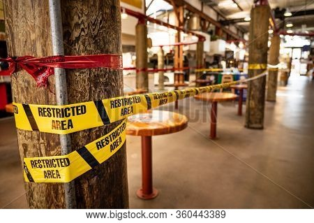 Vancouver, Canada - Apr 7, 2020: Closed Seating Area At Gravnille Island Public Market During Corona