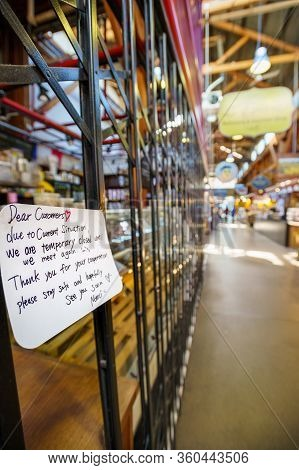 Vancouver, Canada - Apr 7, 2020: Closure Notice On Business Inside Granville Island Market During Co