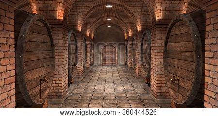 Background Of Wine Barrels In Wine-vaults. Mixed Media. Interior Of Wine Vault With Wooden Barrels.