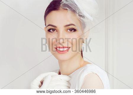 Retro Woman Portrait. Closeup Portrait Smiling Happy Young Woman