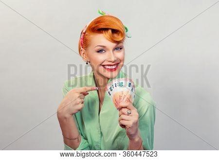 Money. Closeup Portrait Beautiful Young Pretty Business Woman Fashion Girl Looking At You Camera Hol