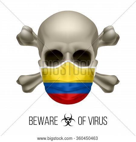 Human Skull With Crossbones And Surgical Mask In The Color Of National Flag Colombia. Mask In Form O