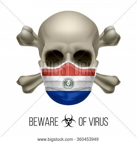 Human Skull With Crossbones And Surgical Mask In The Color Of National Flag Paraguay. Mask In Form O