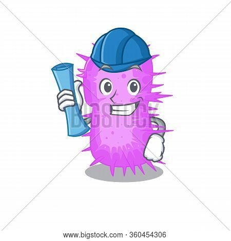 Cartoon Character Of Acinetobacter Baumannii Brainy Architect With Blue Prints And Blue Helmet