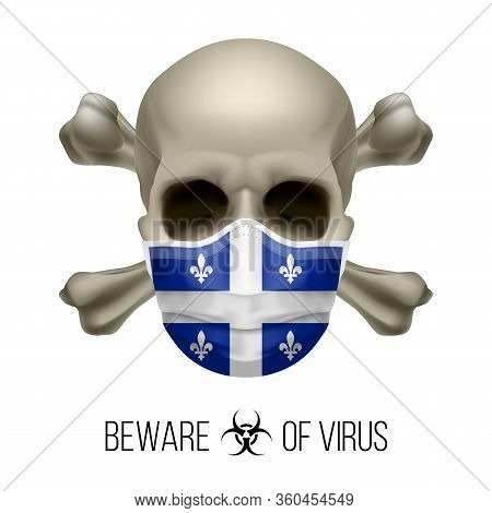 Human Skull With Crossbones And Surgical Mask In The Color Of National Flag Quebec. Mask In Form Of