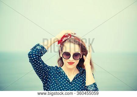 Closeup Portrait Head Shot Of Young Beautiful Smiling Woman, Fashion Girl, Adult Female In Sunglasse