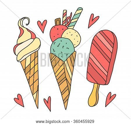Vector Colorful Illustration Of Three Ice Cream In A Cute Cartoon Style. Colorful Youths In Waffles