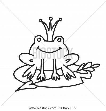 Coloring Book For Adults And Children With A Frog In The Crown Of A Fairy Tale. A Cute Frog Sits On
