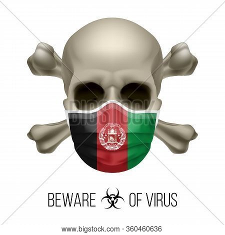 Human Skull With Crossbones And Surgical Mask In The Color Of National Flag Afghanistan. Mask In For