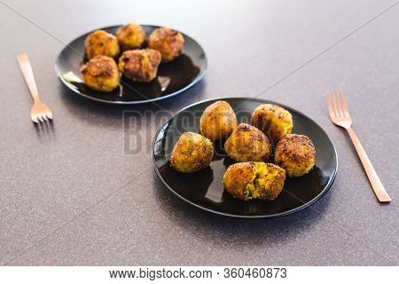 Plant-based Food, Deep Fried Risotto Arancini Balls With Vegan Cheese Filling