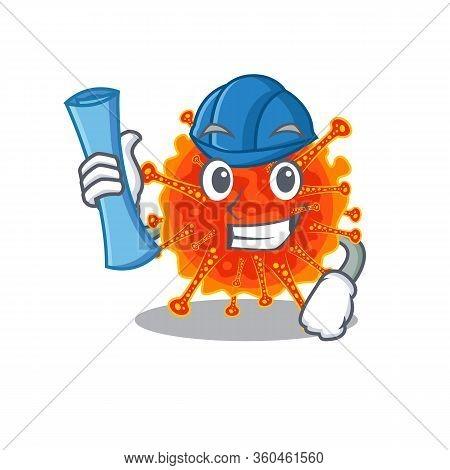 Cartoon Character Of Riboviria Brainy Architect With Blue Prints And Blue Helmet