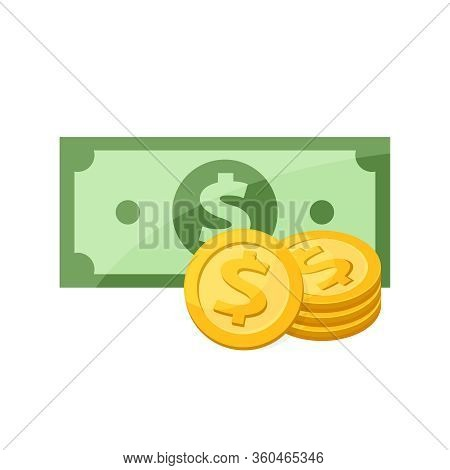 Banknote Money And Medal For Clip Art, Gold Dollar Coin Banknote Money Isolated On White, Illustrati