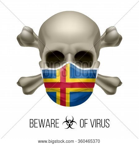 Human Skull With Crossbones And Surgical Mask In The Color Of National Flag Aland Islands. Mask In F