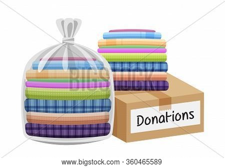 Second Hand Clothes In The Bag And Crate, Boxes For Donations Isolated On White, Used Shirts For Don
