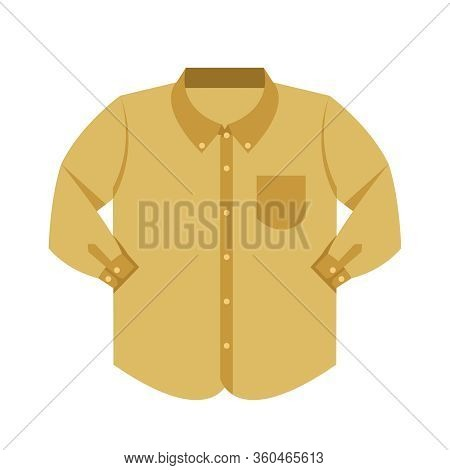 Plain Shirt Clothes Brown Pastel Color Isolated On White Background, Brown Clothes Pattern Plain Fla