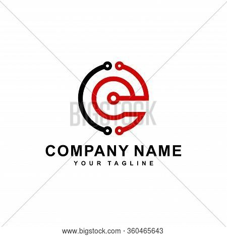 Logo Design Of Ce Or Ec In Vector For Technology,electronics,digital,connection.