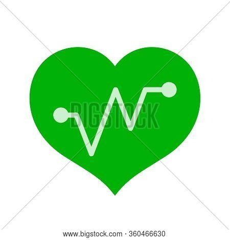 Green Hearts Shape With Beat Pulse Line Isolated On White, Heart Wave Icon Flat, Clip Art Heartbeat