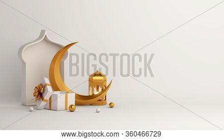 Islamic Background, Ramadan Background, Lantern, Crescent, Gift Box, Window On White Beige Backgroun