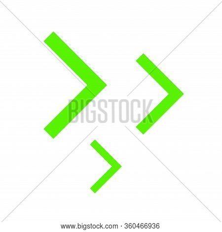 Right Arrowhead Bright Green Simple For Icon, Cursor Bright Green Simple Sign, Modern Arrow Rectangu