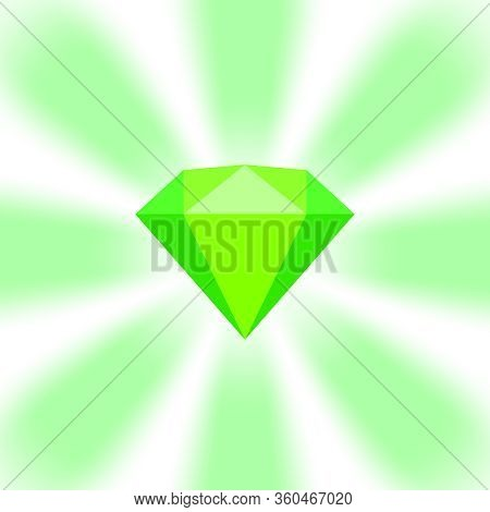 Green Diamond Gemstone On Zoom Comics, Green Flat Diamonds Jewelry Icon, Green Gems On Soft Rays Bur