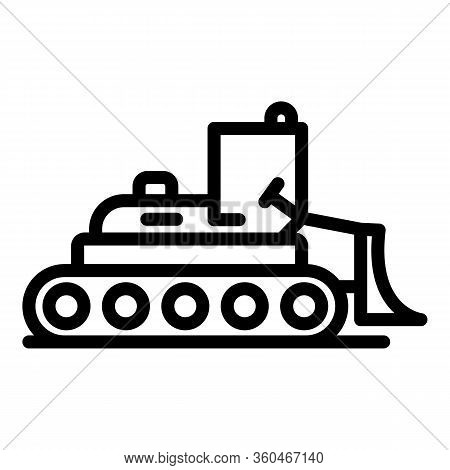 Digger Bulldozer Icon. Outline Digger Bulldozer Vector Icon For Web Design Isolated On White Backgro