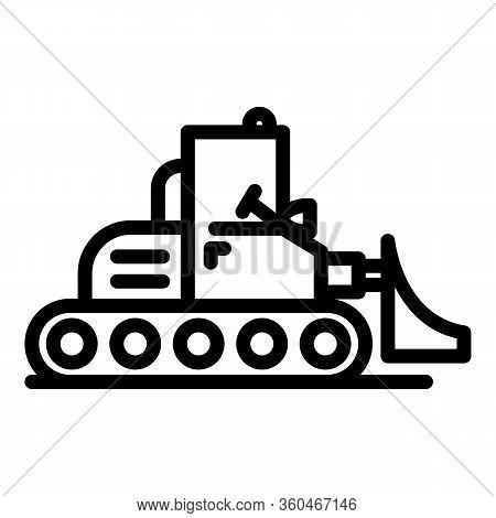 Heavy Bulldozer Icon. Outline Heavy Bulldozer Vector Icon For Web Design Isolated On White Backgroun