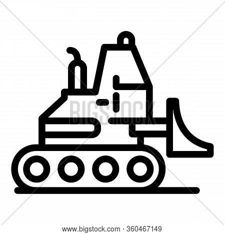 Hydraulic Bulldozer Icon. Outline Hydraulic Bulldozer Vector Icon For Web Design Isolated On White B