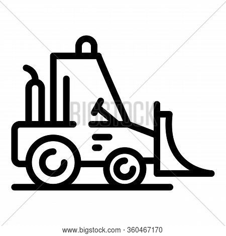 Industry Bulldozer Icon. Outline Industry Bulldozer Vector Icon For Web Design Isolated On White Bac