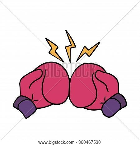 Boxing Gloves Punch Cartoon Art, Sticker Template
