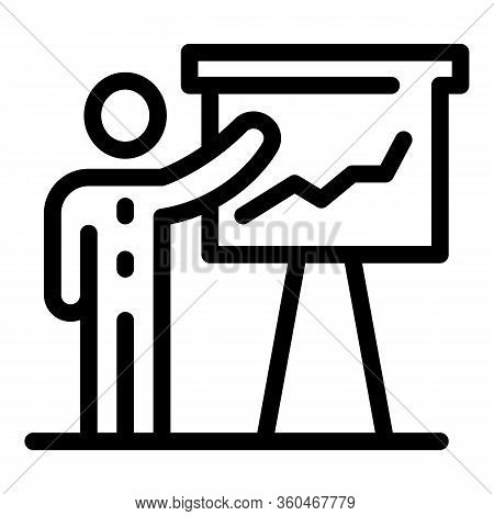 Man And Flipchart Icon. Outline Man And Flipchart Vector Icon For Web Design Isolated On White Backg