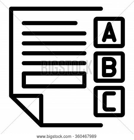 Examination Sheet Icon. Outline Examination Sheet Vector Icon For Web Design Isolated On White Backg