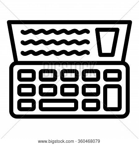 Cash Register Check Icon. Outline Cash Register Check Vector Icon For Web Design Isolated On White B