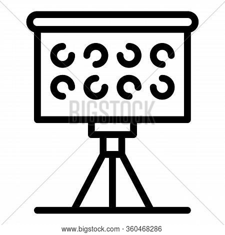 Flipchart With Circles Icon. Outline Flipchart With Circles Vector Icon For Web Design Isolated On W