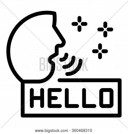 Person Says Hello Icon. Outline Person Says Hello Vector Icon For Web Design Isolated On White Backg