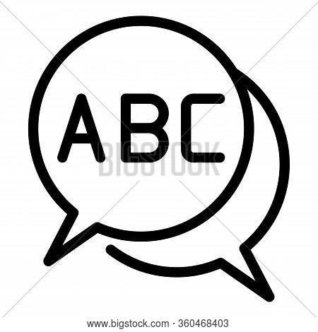 Abc In The Chat Bubbles Icon. Outline Abc In The Chat Bubbles Vector Icon For Web Design Isolated On