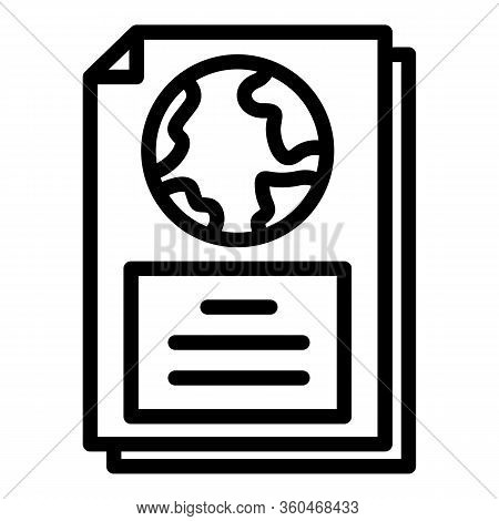 Geography Textbook Icon. Outline Geography Textbook Vector Icon For Web Design Isolated On White Bac