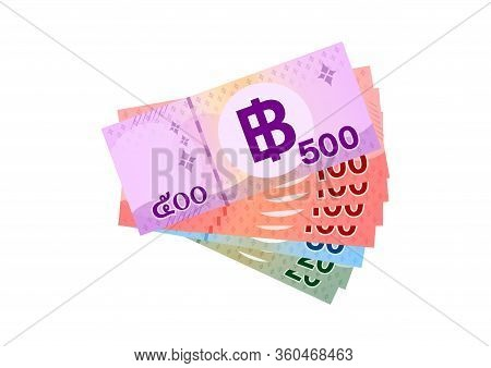 Thai Banknote Money 990 Baht Isolated On White, Thai Currency Nine Hundred Ninety Thb Concept, Money
