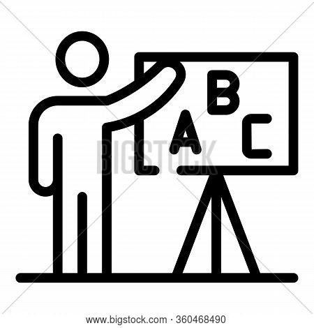 Teacher And Blackboard Icon. Outline Teacher And Blackboard Vector Icon For Web Design Isolated On W