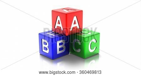 Abc Colorful Cubes Isolated On White Background. 3D Illustration