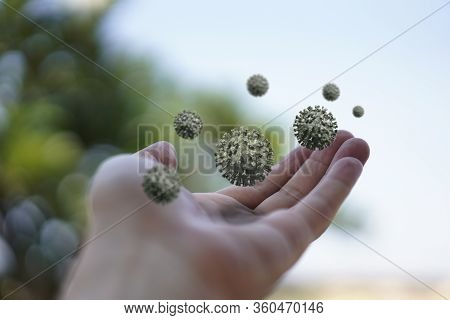 Hand With Bacteria Virus Floating Around.  The Virus Floats Around Us. Germs That We Cannot See. Pub