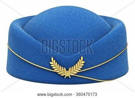 Blue Stewardess Hat Isolated On White Background - 3d Illustration