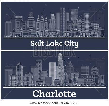 Outline Charlotte North Carolina and Salt Lake City Utah City Skylines with White Buildings. Business Travel and Tourism Concept with Modern Architecture. USA Cityscapes with Landmarks.