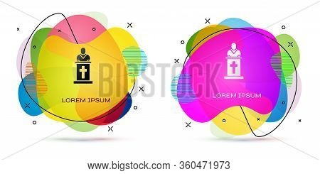 Color Church Pastor Preaching Icon Isolated On White Background. Abstract Banner With Liquid Shapes.