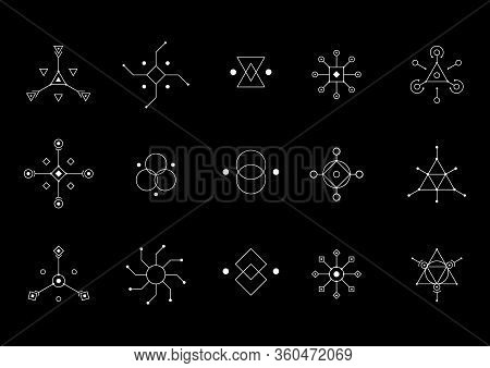 Ufo Or Spiritual Geometry White Symbol Set. Circle, Square, Rhombus Figures. Design Symbols For Puzz