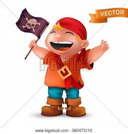 Happy Pirate Boy With Jolly Roger Or Crossed Bones Skull On Black Waving Flag. Vector Illustration O